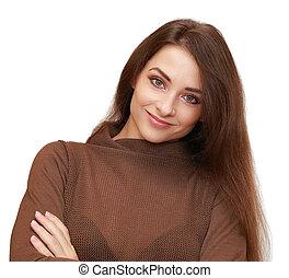 vacker kvinna, isolerat, se, bakgrund., närbild, stående, le, vit, lycklig