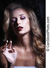 vacker kvinna, jewelery., ung, långt hår