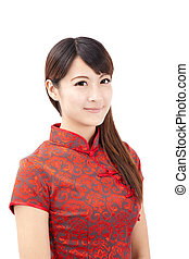 vacker kvinna, kinesisk, ung, le, beklädnad, tradition
