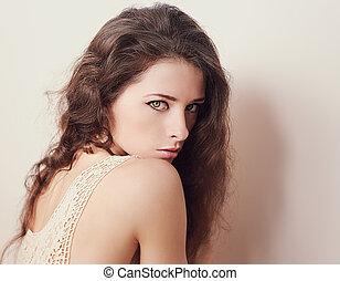 vacker kvinna, konst, se, närbild, stående, sexy.