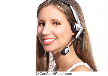 vacker kvinna, kontor, hörlurar, ringa operatören