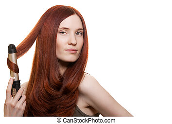 vacker kvinna, krullar, isolerat, långt hår