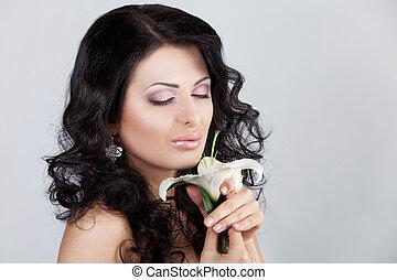 vacker kvinna, lilja, ung, flower.