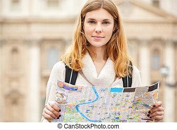 vacker kvinna, map., ung