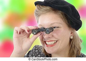 vacker kvinna, med, årgång, kläder, och, opera glasögon