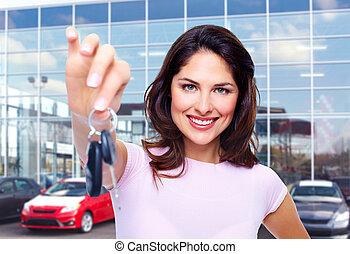 vacker kvinna, med, a, bil, key.