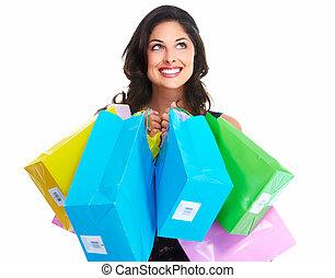 vacker kvinna, med, a, inköp, bag.