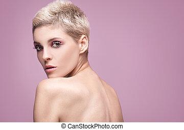 vacker kvinna, med, artistisk, makeup.