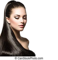 vacker kvinna, med, brun, länge, hälsosam, slät, hår