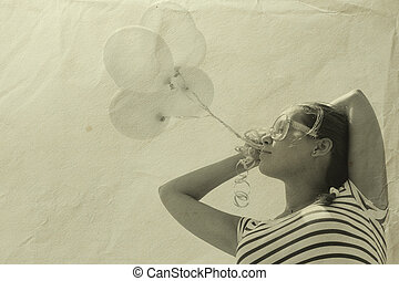 vacker kvinna, med, färgrika ballonger, utanför