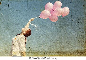 vacker kvinna, med, färgrika ballonger, utsida., foto, in, gammal, avbild, style.