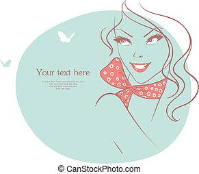 vacker kvinna, med, fjäril