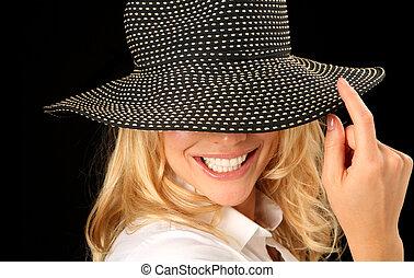 vacker kvinna, med, hatt