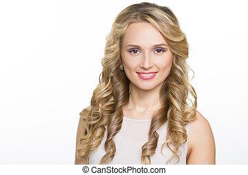 vacker kvinna, med, länge, blond, lockig, hair.