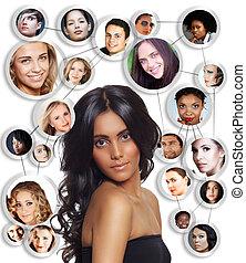 vacker kvinna, med, social, network.