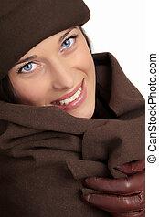 vacker kvinna, med, vinter, mode