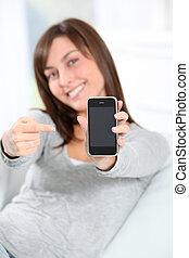 vacker kvinna, mobil, visande, ung, ringa