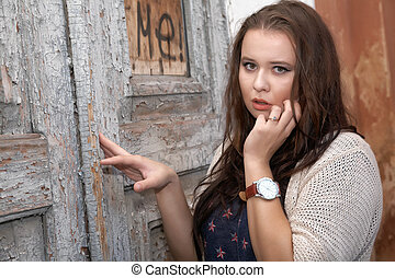 vacker kvinna, mot, ol, plus, expresses, fundersamhet, ...