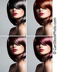 vacker kvinna, naturlig, collage, rak, glans, ung