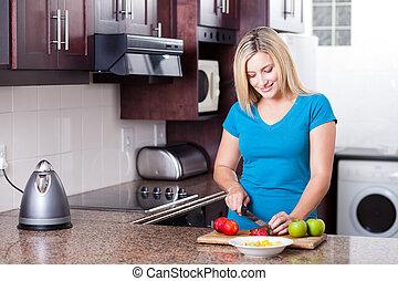 vacker kvinna, nymodig, ung, matlagning, kök