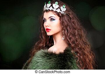 vacker kvinna, pälsfodra, smycken, beauty., coat., långt hår, mode, lyxvara, stående, konst, foto