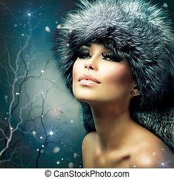 vacker kvinna, pälsfodra, vinter, portrait., flicka, hatt,...