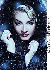 vacker kvinna, pälsfodra, vinter, coat., retro, stående