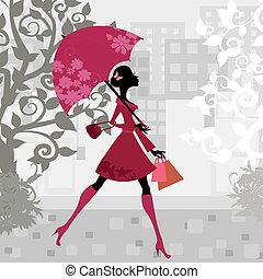 vacker kvinna, paraply