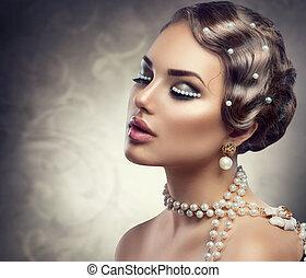 vacker kvinna, pearls., smink, ung, retro, designa, stående