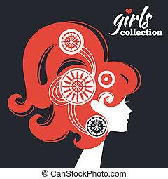 vacker kvinna, silhuett, flickor, kollektion, flowers.