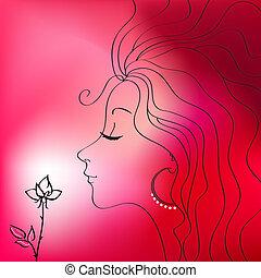 vacker kvinna, silhuett, vektor