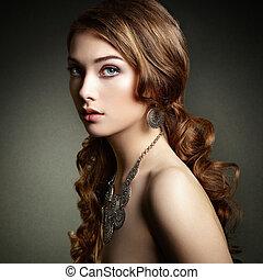 vacker kvinna, skönhet, lockig, h, länge, elegant, hair., flicka