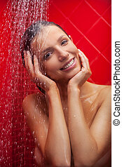 vacker kvinna, skönhet, tagande, shower., ung, skur, le