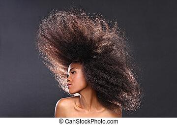 vacker kvinna, stor, bedöva, hår, amerikan, svart, afrikansk...