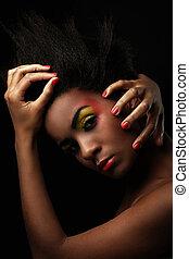 vacker kvinna, svart, glatt, smink