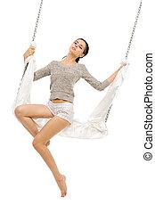 vacker kvinna, swing., svängande