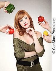 vacker kvinna, tillverkning, a, grönsak, val