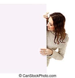 vacker kvinna, tom, -, underteckna, holdingen, billboard., stående, snopen