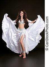 vacker kvinna, tyg, dansare, mage, blåsning, vit, lysande, ...