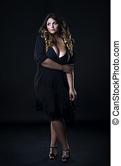 vacker kvinna, underkläder, ung, plus, bakgrund, svart, ...