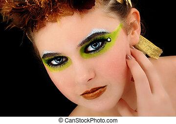 vacker, kvinna, ung, ansikte, Kosmetika,  artsitic