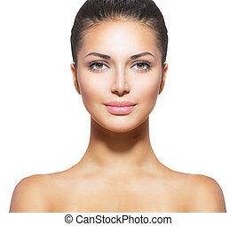 vacker kvinna, ung, ansikte, ren, skinn, frisk