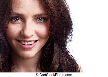 vacker kvinna, ung, bakgrund, vit, lycklig