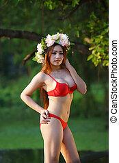 vacker kvinna, ung, damunderkläder, asiat, röd