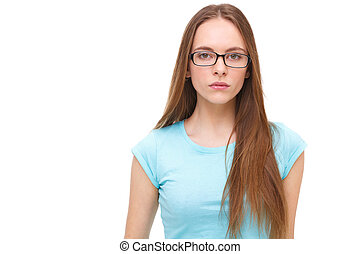 vacker kvinna, ung, isolerat, white., stående, glasögon