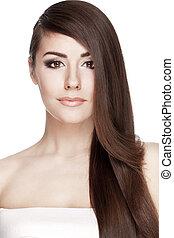 vacker kvinna, ung, långt hår, brunett