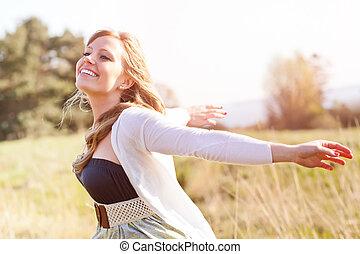 vacker kvinna, utomhus, caucasian
