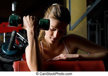 vacker kvinna, vem, övning, in, den, sport, club.