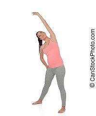 vacker kvinna, yoga, gravid