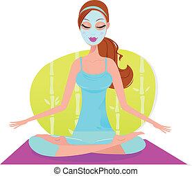 vacker kvinna, yoga matta, sittande, maskera, meditat,...